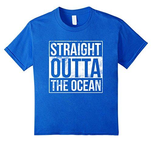 [unisex-child Straight Outta the Ocean Funny Shark Life Fishing T-Shir 10 Royal Blue] (T-shir Fish)