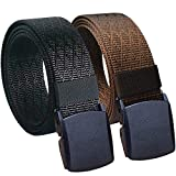 Hoanan Mens Nylon Belt, Tactical 2 Pack 28-50'' Waist Casual Work No Metal Web Belt(Black/Coffee-140)