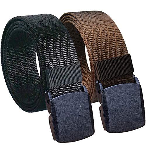 Hoanan Mens Nylon Belt, Tactical 2 Pack 28-50 Waist Casual Work No Metal Web Belt
