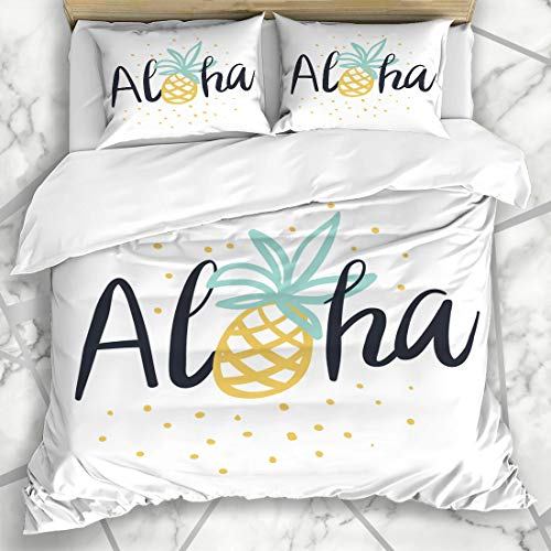 - Ahawoso Duvet Cover Sets King 90x104 Yellow Pineapple Tropical Tee Lettering Aloha Cafe Cute Fruit Ananas Black Design Microfiber Bedding with 2 Pillow Shams