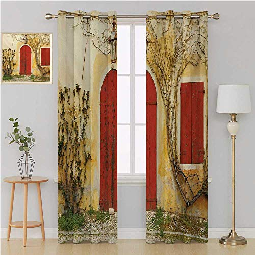 - Shutters grommit Curtain Thermal Blackout curtainsDoorway with Blinded Door and Window to The Rural Tuscan House Italy Europewindow Decor 96 by 108 InchBeige Yellow Red
