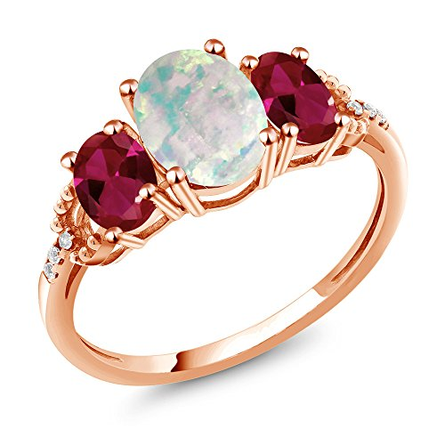 Gem Stone King 2.09 Ct Cabochon Simulated Opal Created Ruby 10K Rose Gold Diamond Accent Ring (Size ()