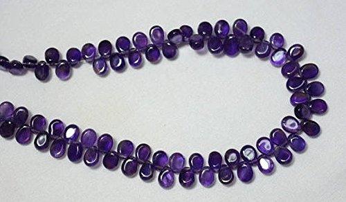 Amethyst Pear Shape Beads, Amethyst Plain Pear Shape Briolettes, Gemstone For Jewelry, 5x7mm, 4.5 Inches - Briolette Gemstone Pear Beads