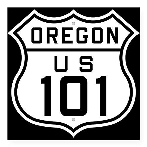 "CafePress - Oregon Us 101 Sticker - Square Bumper Sticker Car Decal, 3""x3"" (Small) or 5""x5"" (Large)"