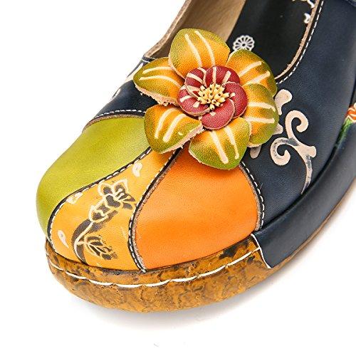 Vintage Sandaler Plattform Slip Danse Blomst Sko Skinn Fargerik Blå Ballett Utendørs Wedges on Kvinner Sommer Håndlaget Loafers Tilfeldige Tøffel Komfortabel Gracosy qxn7S58pw