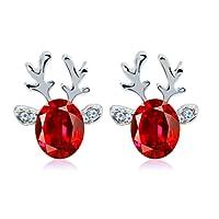 NiceButy Crystal Gemstone Earrings Luxury Three-dimensional Christmas Reindeer Antler Earrings Gift (Red) Christmas Decorations