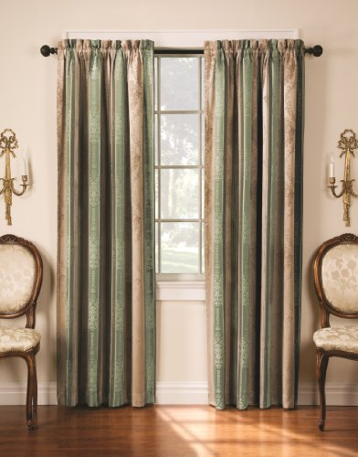 Thermatec Tuscan Stripe Thermal Backed Pole Top Panel, 52-Inch by 84-Inch, Sage