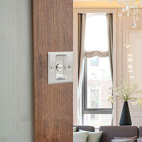 """ACIMONE Privacy Sliding Door Lock with Pull Satin Nickle 2-3//4/""""x2-1//2/"""",for Pocket Door Thickness 1-3//8/"""""""