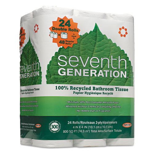 Seventh Generation - 100% Recycled Bathroom Tissue, Two-Ply,