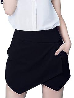 2e9a5fb5a1 PERSUN Women's Asymetric Hem Tulip Shorts Mini Skirt Shorts White/Black