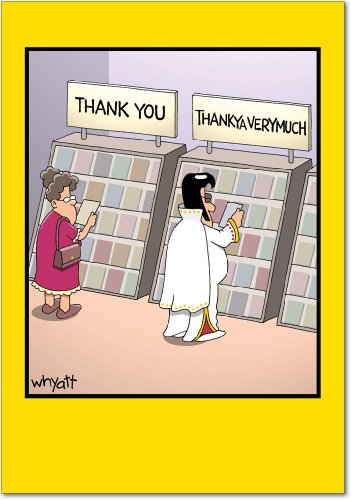 ThankYa - Funny Thank You Note Card with Envelope (4.63 x 6.75 Inch) - Grandma with The King, Elvis All Occasion Thanks Greeting Card - Cartoon Design, Appreciation and Gratitude -