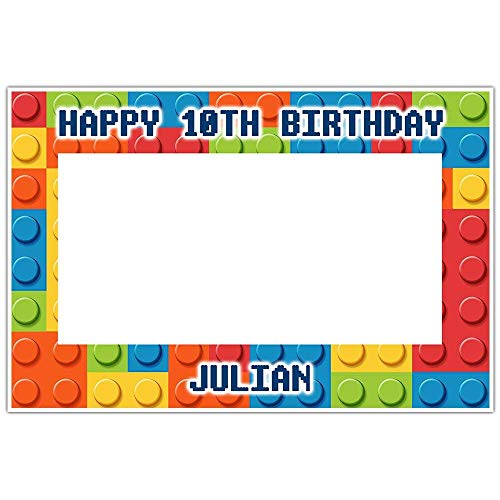 Building Blocks Selfie Frame Social Media Photo Booth Prop Party Poster -