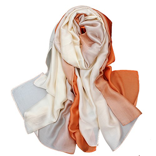 Ete Anti Couleur 1 Uv Echarpe Femme Chale 5 Soie De Dégradé Hiver Coloré Longue Foulard Grand En All Orange w0IWnqpZ