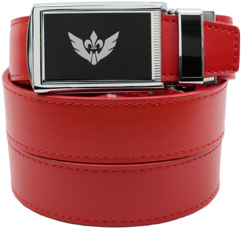 [Slidebelts Men's Leather Belt without Holes - Big Logo Winged Black Buckle / Red Leather (Trim-to-fit: Up to 48