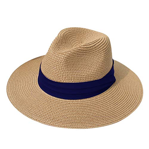 DRESHOW Women Straw Panama Hat Fedora Beach Sun Hat Wide Brim Straw Roll up Hat UPF 50+ (Khaki Blue Ribbing)
