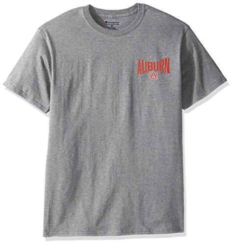 NCAA Auburn Tigers Men's Champ Short sleeve T-Shirt 6, Large, Oxford Heather - Cotton Performance Short Sleeve Tee