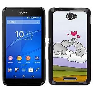 EJOY---Cubierta de la caja de protección para la piel dura ** Sony Xperia E4 ** --Elefante y el corazón