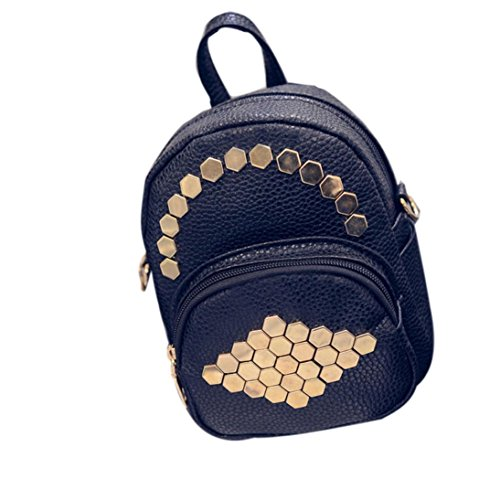 New Women Leather Hexagonal Rivets Solid Color Simple BagsTravel Bags Backpack by VESNIBA