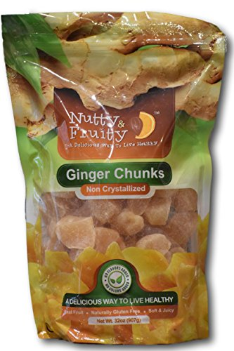 Ginger Chunks- Non crystallized Real Fruit- Soft and Juicy by Nutty and Fruity