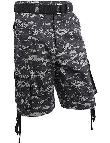 Hat And Beyond Ih Mens Twill Cargo Shorts With Belt  34 I  Iha03 Digital Camo