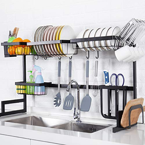 Over the Sink Dish Drying Rack, YIHONG Large Dish Rack for Kitchen Sink Organization and Storage, 2-Tier Stainless Steel…