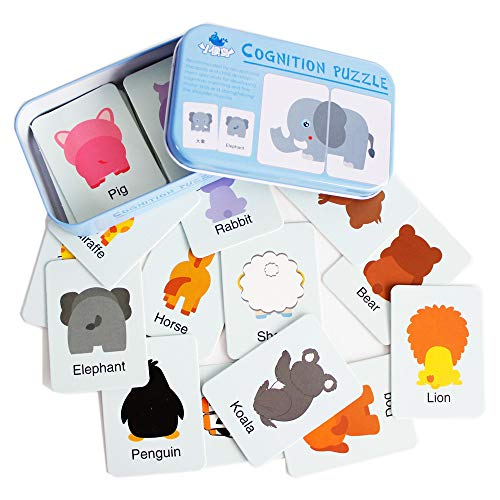 Baby Infant 32pcs Flash Card Jigsaw cognition Puzzle Shape Matching Puzzle Cognitive Learning Early Education Card Learning Toys in a Box - Animal