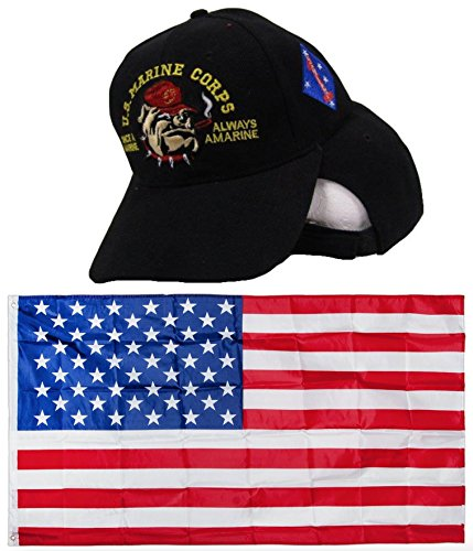 USMC Bulldog Once a Marine Always a Marine 1st Division Embroidered Hat Cap & USA Flag 3x5 Super Polyester Nylon 3'x5' House Banner Grommets Double Stitched Premium Quality (Marine Division Hat)
