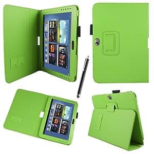 Sleek Gadgets-Funda con función atril y lápiz capacitivo para Samsung Galaxy Note 10.1N8000Negro de piel color verde