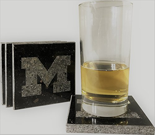 University of Michigan Etched Granite Coasters
