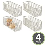 mDesign Wire Basket - Flexible Wire Storage Baskets - Compact Wire Bin with Handles - Multi-Purpose Metal Basket - Satin
