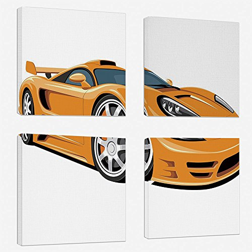 4 Pcs/set Modern Painting Canvas Prints Wall Art For Home Decoration Cars Print On Canvas Giclee Artwork For Wall DecorOrange Sports Car Fast Racing Roadster Modern Automotive Technology Decorative-Pa