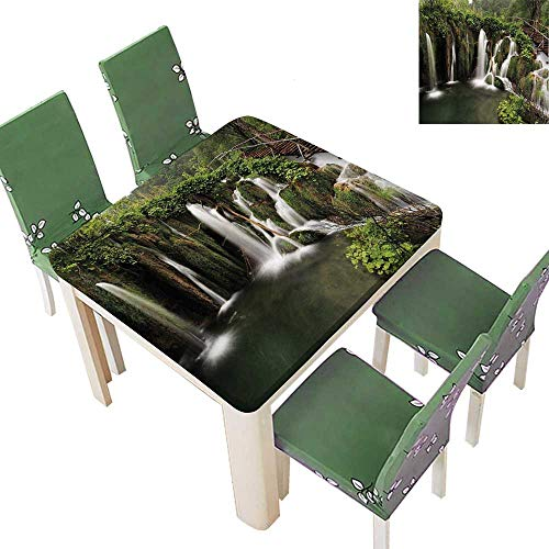 (Printsonne Decorative Tablecloth Waterfalls in Crotia Wood Cute Bridge Aside Green and Brown for Dining Room and Party 23 x 23 Inch (Elastic Edge))