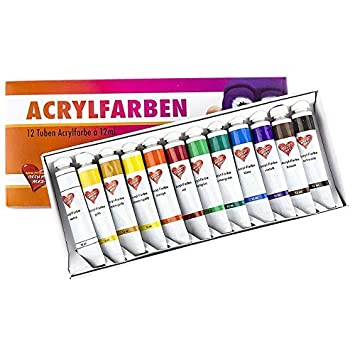 Acrylfarben Set Mit 12 Tuben A 12 Ml 12 Verschiedene Farben Studio