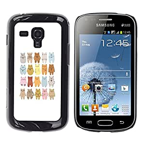 Impact Case Cover with Art Pattern Designs FOR Samsung Galaxy S Duos S7562 Bear Art Drawing Lineup Cartoon Betty shop