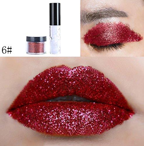 Oksale 20 Colors Shimmer Glitter Lip Gloss Powder Palette Glitter Lipstick Cosmetic Eye shadow (F)