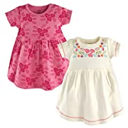 Touched by Nature Baby Girls 2-Pack Organic Cotton Dress, Bohemian Floral, 9-12 Months