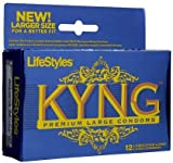 Lifestyles Kyng Blue Large Lubricated Latex Condoms-12 ct (Pack of 3), Health Care Stuffs