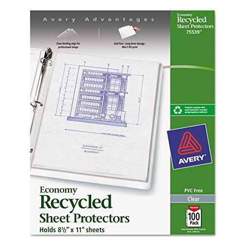 Avery 75539 Top-Load Recycled Polypropylene Sheet Protector, Clear (Box of - Recycled Materials