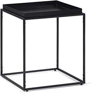 SIMPLIHOME Garner Modern Industrial 17 inch wide Metal Tray Top End Side Table in Black, for the Living Room and Bedroom