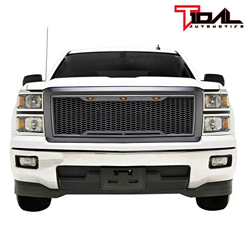 Tidal Replacement Silverado Upper Grille Front Hood Grill - Charcoal Gray - With Amber LED Lights for 14-15 Chevy Silverado 1500 Diamond Plate Hood Vent
