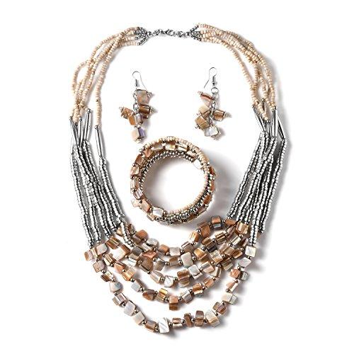 - Handmade Coastal Stainless Steel Earrings Wrap Bracelet Multi Strand Necklace 22