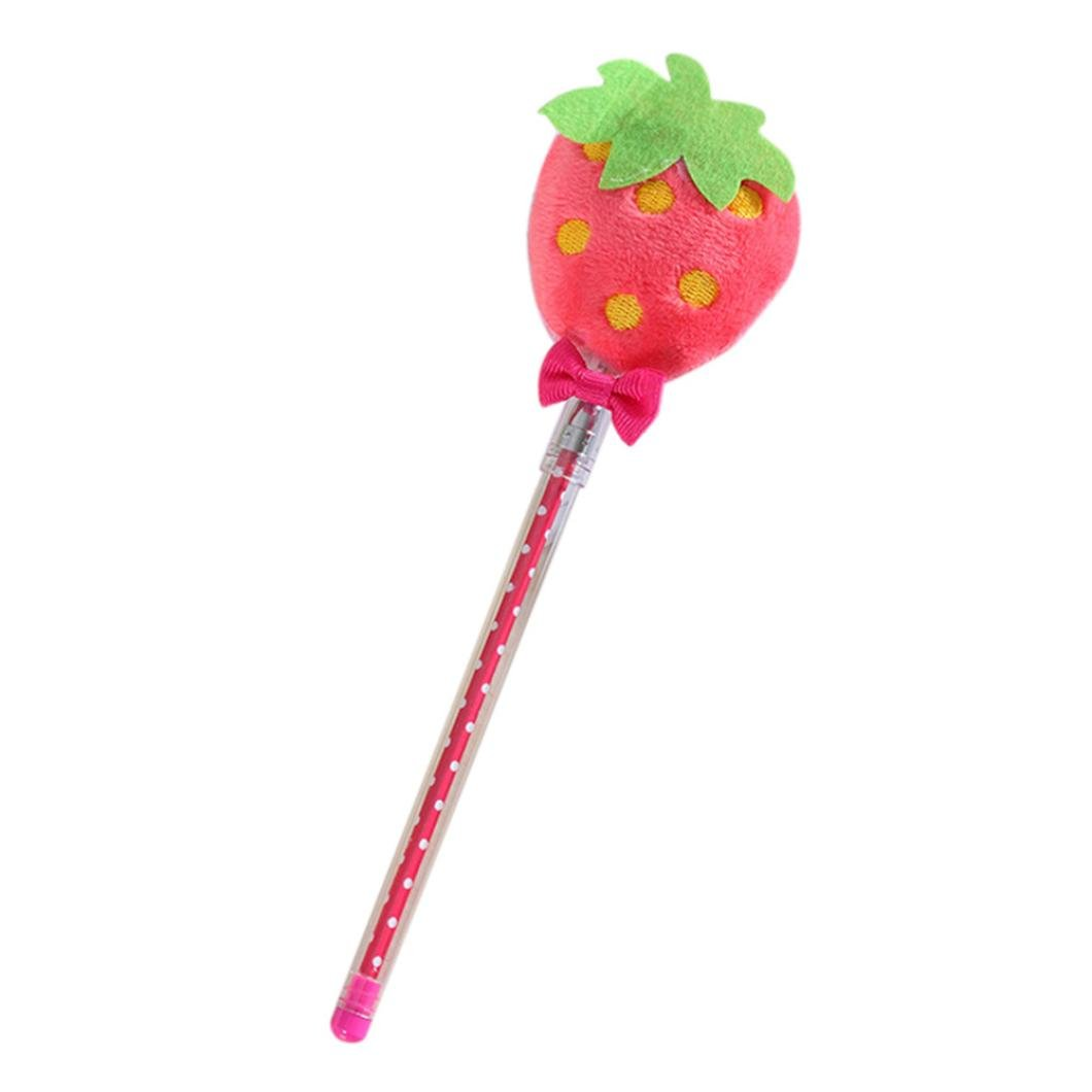Inverlee Back to School Supplies, Cute Vegetable Fruit Plush Ball Creative Gel Pen Smooth Writing (Strawberry)