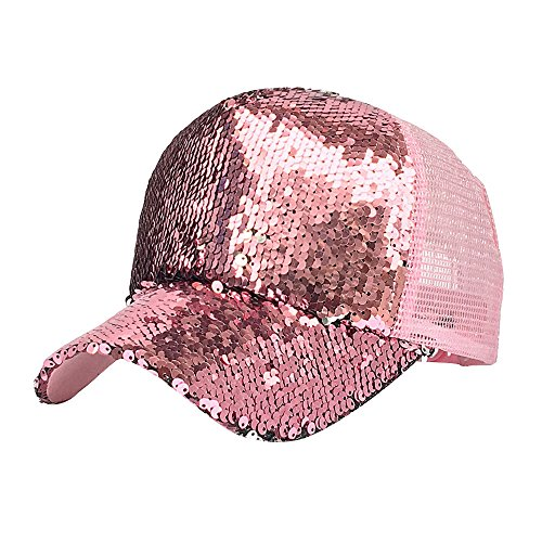 ZOMUSAR Women Ponytail Sport Messy Bun Ponytail Reversible Magic Sequin Adjustable Baseball Cap (Pink)