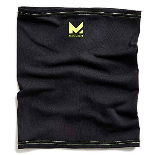 Mission HydroActive Fitness Multi-Cool Neck Gaiter and Headband, Jet Black/High Vis Green, One