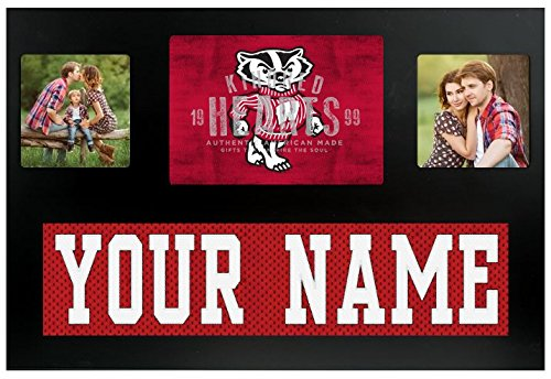 (Wisconsin Badgers NCAA Custom Jersey Nameplate and Logo Picture Frame)