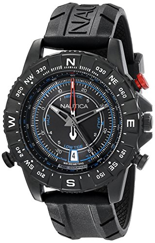 Nautica Men's NAD21001G NSR 103 TIDE TEMP COMPASS Watch with Black Band (Men Black Nautica Watches)