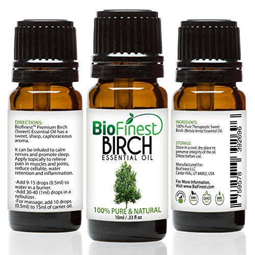 BioFinest Birch Oil - 100% Pure Birch Essential Oil - Fight Muscle & Joint Paint - Premium Quality - Therapeutic Grade - Best For Aromatherapy - FREE E-Book (10ml)