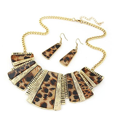 sameno 2018 Fashion New Girl Women Mixed Style Bohemia Leopard Bib Chain Necklace+Earrings Jewelry ()