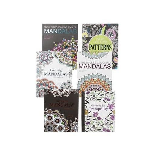 Adult Coloring Books-Set of 6 Coloring Books and a 24 Pack of Coloring Pencils, Many Different Designs! Mandala Books for Adults