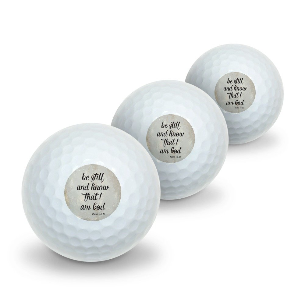 Be Still and Know that I am God Psalm Inspirational Christian Novelty Golf Balls 3 Pack